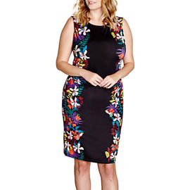 Yumi Curves Jungle Floral Bodycon Dress- Black
