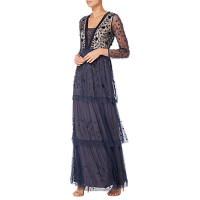 Raishma Embellished Tiered Gown- Navy