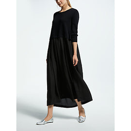 Weekend MaxMara Knit Overlay Maxi Dress- Black