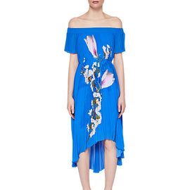 Ted Baker Melma Harmony Pleated Maxi Dress- Bright Blue