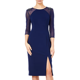 Adrianna Papell Short Crepe Dress- Light Navy