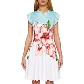 Ted Baker Maevea Scallop Skater Dress- Pale Green/Multi