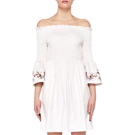 Ted Baker Floral Embroidered Smock Dress- White