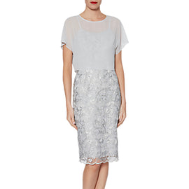 Gina Bacconi Megan Embroidered Dress And Over Top- Grey/Silver