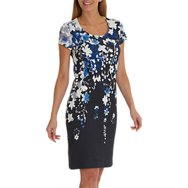Betty Barclay Floral Print Dress- Blue/Cream
