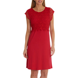 Betty Barclay Jersey And Lace Dress- Red Lipstick