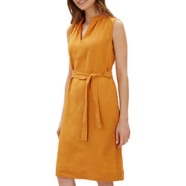 Jaeger Linen Gathered Neck Dress