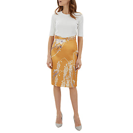 Jaeger SBC Floral Print Pencil Skirt- Orange