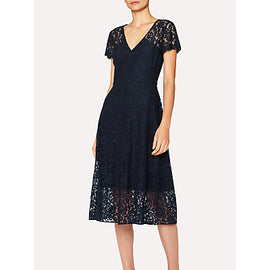 PS Paul Smith Cap Sleeve Lace Dress- Navy