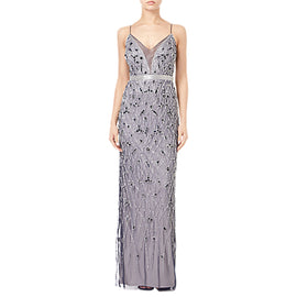 Adrianna Papell Beaded Column Dress- Navy/Silver