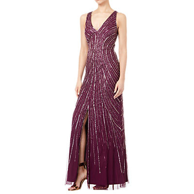 Adrianna Papell Tulle Sleeveless Beaded Long Dress- Cabernet