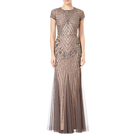 Adrianna Papell Short Sleeve Beaded Godet Gown- Lead/Nude
