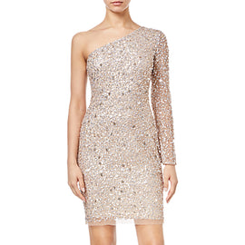Adrianna Papell Asymmetric Sequin Dress- Champagne