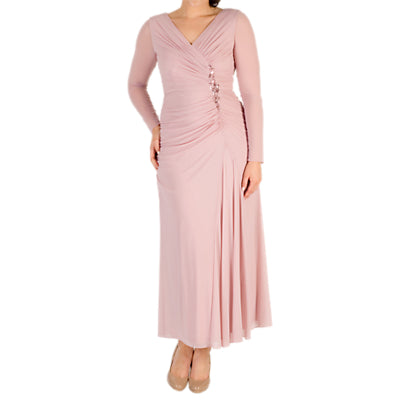 Chesca Ruched Bead Trim Dress- Powder Pink