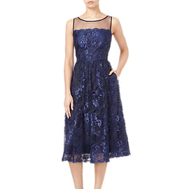 Adrianna Papell Sleeveless Tea Length Dress- Navy