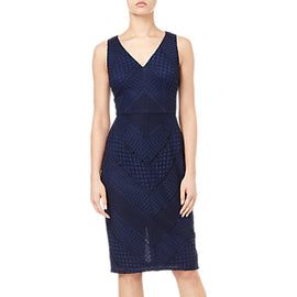 Adrianna Papell Vintage Lace Dress- Navy/Black