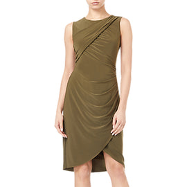 Adrianna Papell Gathered Jersey Sheath Dress- Olive