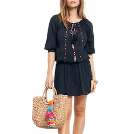 hush Goa Embroidered Dress- Midnight