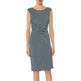 Gina Bacconi Billie Abstract Print Dress- Navy/Green