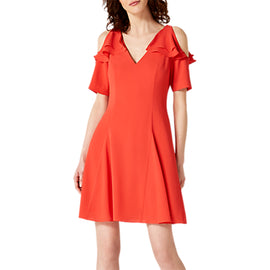 Damsel in a Dress Juna Ruffle Cold Shoulder Dress- Red