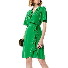 Karen Millen Silk Wrap Dress- Green
