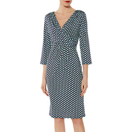 Gina Bacconi Fabiana Jersey Dress- Navy/Green