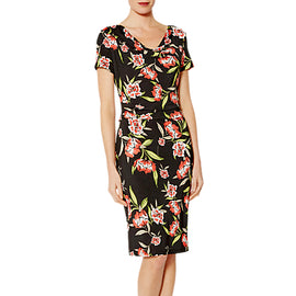 Gina Bacconi Kendall Floral Print Cowl Neck Dress- Black/Orange