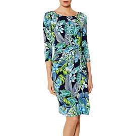 Gina Bacconi Tasmia Tropical Dress- Green/Blue