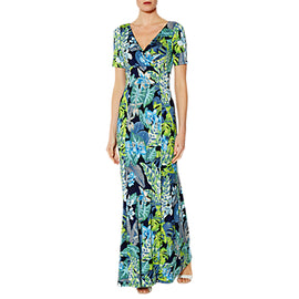 Gina Bacconi Sage Flounced Maxi Dress- Green/Blue