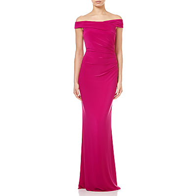 Adrianna Papell Off the Shoulder Jersey Gown- Bright Syrah