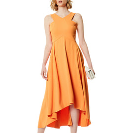 Karen Millen Flared Midi Dress- Orange