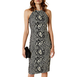 Karen Millen Bodycon Snake Print Dress- Green