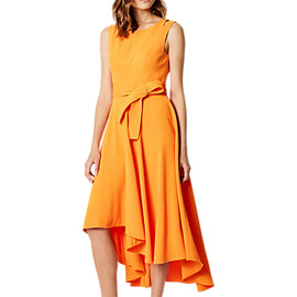 Karen Millen Fluid Midi Drape Dress- Orange