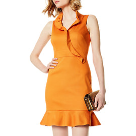 Karen Millen Ruffle Front Dress- Orange