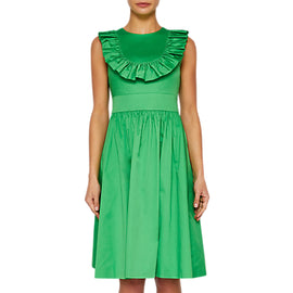 Ted Baker Awrah Ruffle Detail Flared Dress- Bright Green