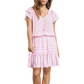 hush Nini V-Neck Dress- Pink