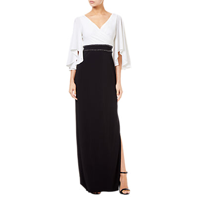 Adrianna Papell Two-Tone Angel Sleeve Long Jersey Dress- Ivory/Black