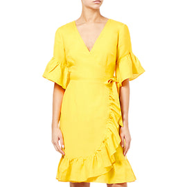 Adrianna Papell Positano Ruffle Wrap V-Neck Dress- Pineapple