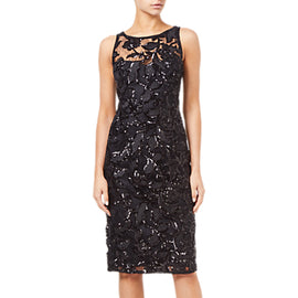 Adrianna Papell Sequin Embroidered Sheath Dress- Black