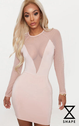 Shape Nude Mesh Insert Bodycon Dress- Pink