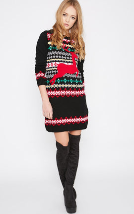 Darina Black Reindeer Christmas Jumper Dress- Black