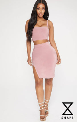Shape Rose Extreme Split Midi Skirt- Pink