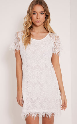 Adara White Lace Shift Dress- White