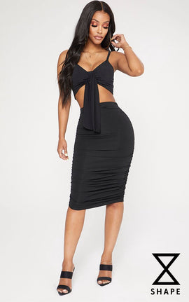Shape Black Slinky Ruched Bodycon Skirt- Black