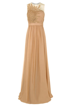 Dynasty Sarin Gold Embroidered Maxi Dress