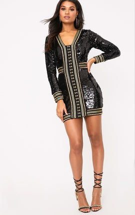 Anisha Black Premium Embellished Sequin Bodycon Dress- Black