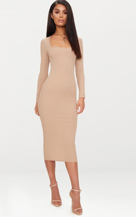 Taupe Ribbed Long Sleeve Midaxi Dress- Brown