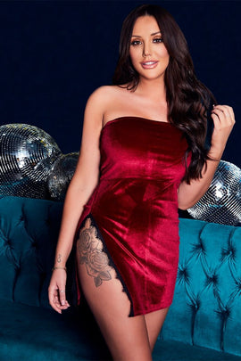 Wine Dresses - Charlotte Crosby Wine Velvet Lace Trim Bandeau Dress