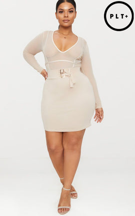Plus Stone High Waisted Bodycon Skirt- White