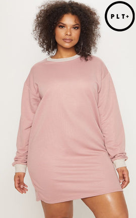Plus Pink Oversized Sweater Dress- Pink